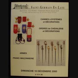 CATALOGUE LOISEAU - SCHMITZ ST GERMAIN/LAYE 10 DÉCEMBRE 2000 (C83)