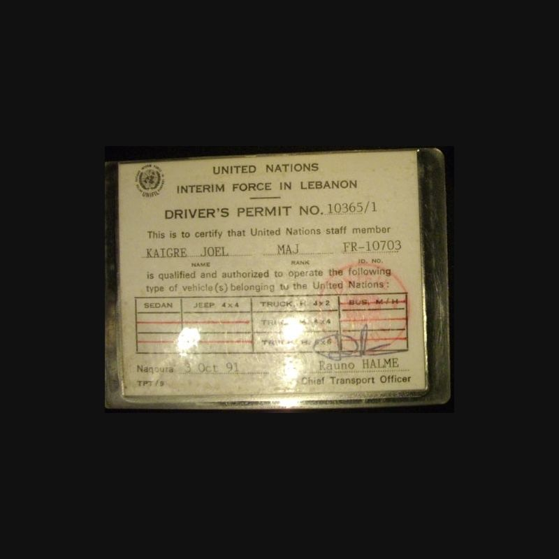 document de permis de conduire de l 39 unifil ma collection pas ch re. Black Bedroom Furniture Sets. Home Design Ideas