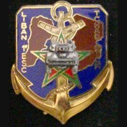 RICM : insigne métallique du 1° escadron du régiment d'infanterie chars de marine avec inscriptions Liban Tchad de fabrication Drago