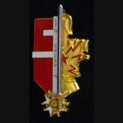 PROMOTION EOR TRANS : insigne métallique de la promotion de transmissions Lieutenant Crespin de fabrication Destrée G. 4264