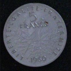 PIECE DE 5 FRANCS 1960 EN PLASTIQUE (JEUX MARCHANDS)