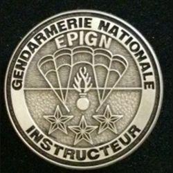 EPIGN : insigne métallique de brevet instructeur de l'escadron parachutiste d'intervention de la Gendarmerie nationale EPIGN de fabrication Boussemart 2004 tirage tout métal vieil argent