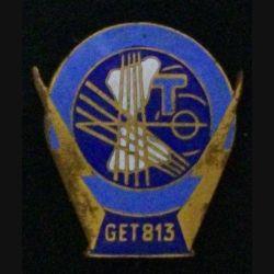 813° GET : insigne du 813° groupe d'exploitation des transmissions en émail de fabrication Drago G.1800 attache collée