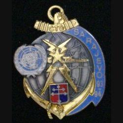 TRANS 9°DIMA : insigne métallique de la 9° compagnie de transmissions divisionnaire à Sarajevo en 1993 - 1994 de fabrication J.Y Ségalen 1994 N°195 sans attache