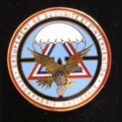 GSIGN : insigne de brevet du Groupement de Sécurité et d'intervention de la Gendarmerie Nationale 2° modèle de fabrication Y. Boussemart GNS 002 en relief