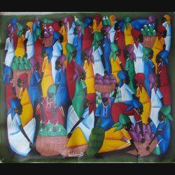 12. ART NAÏF HAÏTIEN : SCÈNE DE MARCHÉ -HUILE SUR TOILE 60x50 cm