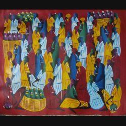 11. ART NAÏF HAÏTIEN : SCÈNE DE MARCHÉ -HUILE SUR TOILE 59x49 cm