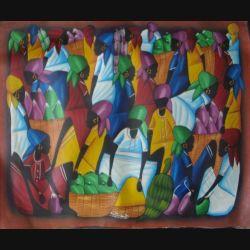 13. ART NAÏF HAÏTIEN : SCÈNE DE MARCHÉ -HUILE SUR TOILE 60x50 cm