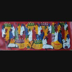 14. ART NAÏF HAÏTIEN : SCÈNE DE MARCHÉ -HUILE SUR TOILE 30x75 cm
