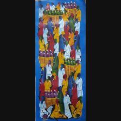 15. ART NAÏF HAÏTIEN : SCÈNE DE MARCHÉ -HUILE SUR TOILE 30x75 cm