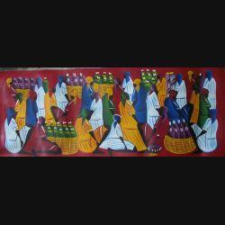 18. ART NAÏF HAÏTIEN : SCÈNE DE MARCHÉ -HUILE SUR TOILE 30x75 cm