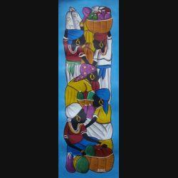 19. ART NAÏF HAÏTIEN : SCÈNE DE MARCHÉ -HUILE SUR TOILE 30x75 cm