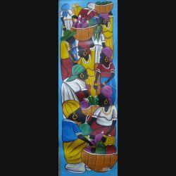 20. ART NAÏF HAÏTIEN : SCÈNE DE MARCHÉ -HUILE SUR TOILE 25x75 cm