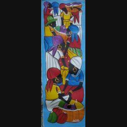 21. ART NAÏF HAÏTIEN : SCÈNE DE MARCHÉ -HUILE SUR TOILE 25x75 cm