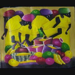 25. ART NAÏF HAÏTIEN : SCÈNE DE MARCHÉ -HUILE SUR TOILE 50x60 cm