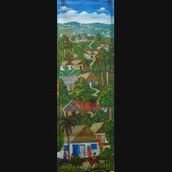 36. ART NAÏF HAÏTIEN : VILLAGE -HUILE SUR TOILE 30x100 cm
