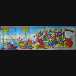 38. ART NAÏF HAÏTIEN : MARCHÉ -HUILE SUR TOILE 30x100 cm