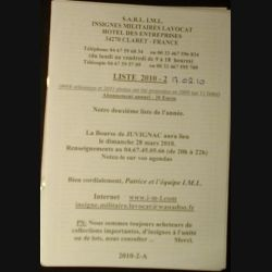 0. Liste 2010 - 02 d'insignes militaires illustrés en couleur réalisé par la SARL IML insignes militaires Lavocat