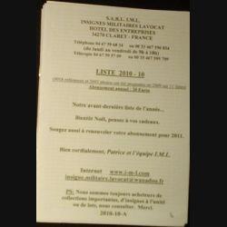 0. Liste 2010 - 10 d'insignes militaires illustrés en couleur réalisé par la SARL IML insignes militaires Lavocat