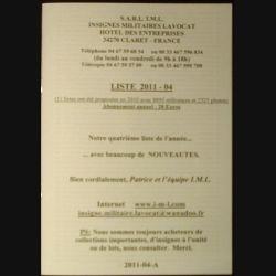 0. Liste 2011 - 04 d'insignes militaires illustrés en couleur réalisé par la SARL IML insignes militaires Lavocat