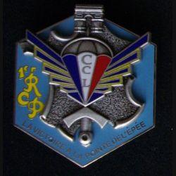 1° RCP : insigne métallique de la compagnie de commandement et de logistique CCL du 1° régiment de chasseurs parachutistes de fabrication Boussemart 2010