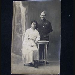 CARTE POSTALE GUERRE 1914-1918 : SOLDAT DE 1914 AVEC ÉPOUSE