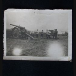 PHOTO GUERRE 1914 : tir au canon de 155 court à tir rapide de type Rimailho