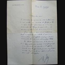 AUTOGRAPHE DU MARÉCHAL JUIN LETTRE DU 21/01/1957