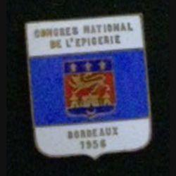 INSIGNE DIVERS : insigne du congrès national de l'épicerie de Bordeaux en 1956 en émail grand feu sans attache