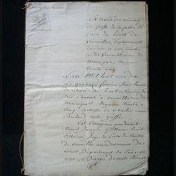 vieux manuscrit (1) du 14 février 1810 de 11 pages extrait des minutes du greffe de Versailles avec 3 sceaux officiels de 75 centimes de l'empire français