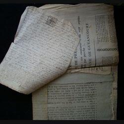 vieux manuscrit (2) du 02 Avril 1793 de 7 pages concernant la concession d'un bail pour une ferme du Chesnay avec 2 sceaux de 25 centimes