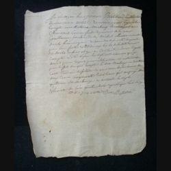 vieux manuscrit (13) du 7 pluviose an quatre comprenant 1 page recto avec un sceau de minute au verso
