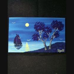 PEINTURE GOUACHE : voilier au clair de lune 12,5 x 20,5 cm signé P. Benkö