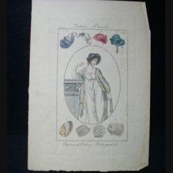 MODE : gravure couleur du costume parisien 1800, chapeau de velours, fichu quadrillé.