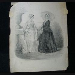 MODE : gravure noire et blanc de Anaïs Colin en 1844 présente deux femmes en robe longue.