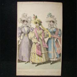 """MODE : image de mode 14,5 x 24 cm appelée """"public promenade dress, dinner dress, carriage dress"""" années 1830"""