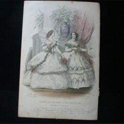 MODE : Le Moniteur des dames et des demoiselles : gravure couleur de Jules David présente deux femmes en robe mode d'Alexandrine