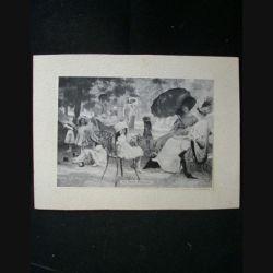 MODE : reproduction de tableau d'une scène champêtre en 1914 au parc Monceau à Paris en noir et blanc