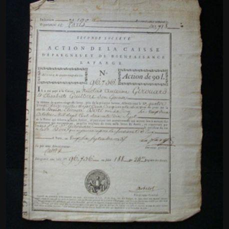 vieux manuscrit (17) du 26 septembre 1793 Action de la caisse d'épargne et de bienfaisance Lafarge de 90 livres N° 96756