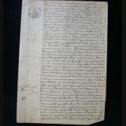 vieux manuscrit (19) du 5 Juin 1810 comprenant 3 pages d'un extrait de perquisition chez une débitante de boissons avec 1 sceaux de 50 centimes de l'empire français et un sceau (sec) de l'adm de l'ent. et des dom.