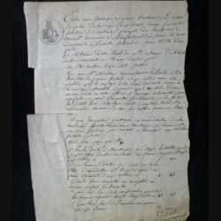 vieux manuscrit (20) du 5 juin 1810 comprenant 1 page recto verso d'un constat d'amende à payer par une débitrice de boisson prise en flagrant délit avec 1 sceau de 25 centimes de l'empire français et un timbre à sec de l'adm. de l'ent. et des dom.