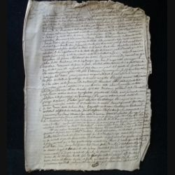 vieux manuscrit (27) du 25 brumaire de l'an sept comprenant 7 pages d'une séparation de biens par le tribunal départemental de Seine et Oise avec 2 sceaux de 75 centimes triangulaires