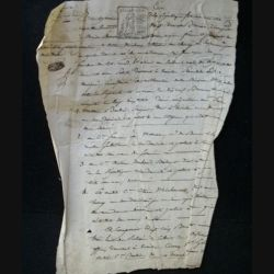 vieux manuscrit (28) du 22 brumaire de l'an sept comprenant 1 page recto verso de sommation aux témoins avec un sceau de 25 centimes carré de la République française