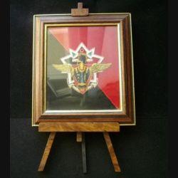 cadre comprenant l'insigne du Batgen IFOR mai septembre 1996 3°, 4°, 71° et 25° régiment du Génie de l'air en cannetille