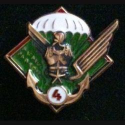 """17° RGP 4° CIE : insigne de la 4° compagnie """"à l'aise partout"""" du 17° régiment du génie parachutiste en bronze massif boléro allongé"""