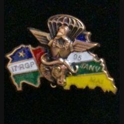 17° RGP CA RCA : insigne de la compagnie d'appui CA du 17° régiment du génie parachutiste en République Centrafricaine RCA de janvier à mai 1995 en bronze massif boléro allongé