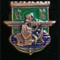 17° RGP CA NLLE CALÉDONIE : insigne de la compagnie d'appui CA du 17° régiment du génie parachutiste en Nouvelle Calédonie en 1991 en bronze massif boléro allongé