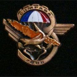 17° RGP 3° CIE NLLE CALÉDONIE : insigne de la 3° compagnie du 17° régiment du génie parachutiste à Compara en Nouvelle Calédonie en 2006 en bronze massif boléro allongé