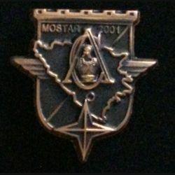 17° RGP CA MOSTAR : insigne de la compagnie d'appui CA du 17° régiment du génie parachutiste Mostar 2001 tout en bronze massif boléro allongé
