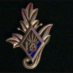 4° REI : insigne du commissariat du 4° régiment étranger d'infanterie couleur bleue nuit en bronze massif tirage dissolution